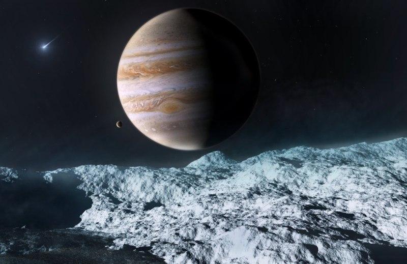 Вид с Европы на Юпитер в представлении художника